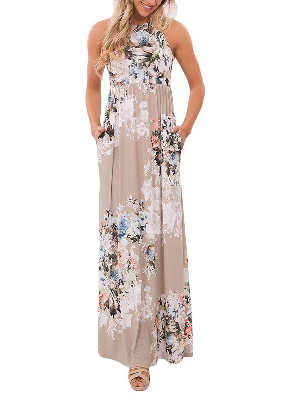 Jugupo womenus floral print sleeveless long maxi casual dress itus