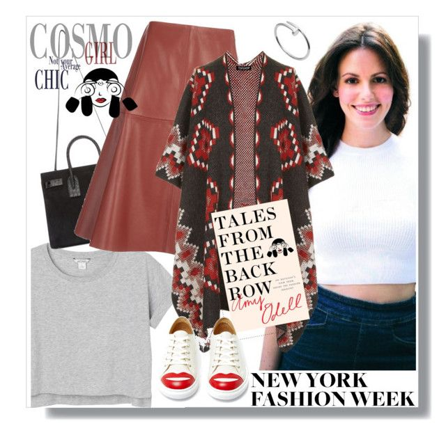 """""""show off your nyfw street style"""" by maria-maldonado ❤ liked on Polyvore featuring Monki, Yves Saint Laurent, Joseph, Topshop, Charlotte Olympia, Cartier, StreetStyle and talesfromthebackrow"""