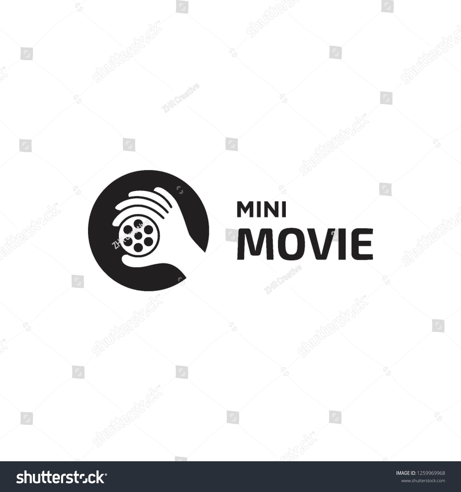 negative space hand pick film roll for mini movie logo