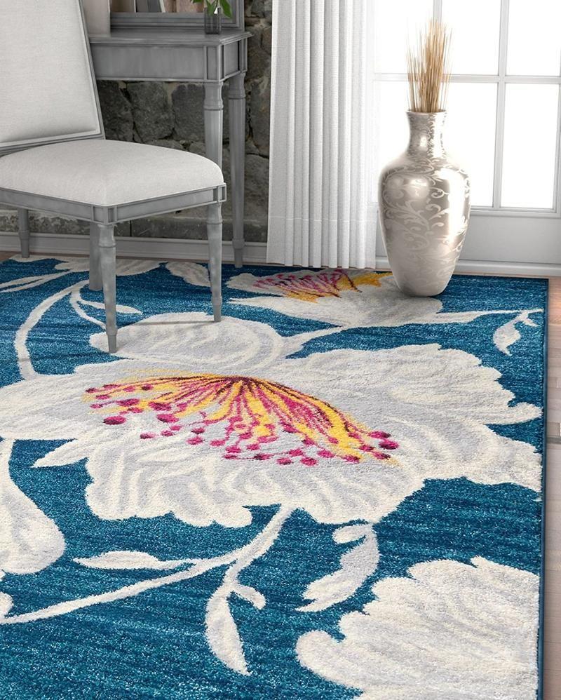 2968 Blue Flower Floral Contemporary Area Rugs Contemporary Area