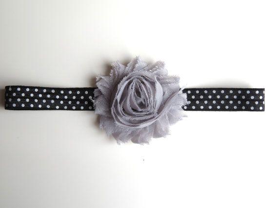 2-6 Months Black and Grey Polka Dot Headband