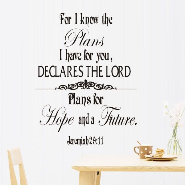 Jeremiah 29 11 Scripture Wall Art Words Wall Stickers Family Decals Quote Lettering Mural Vinyl Wall Deco Wall Stickers Family Word Wall Art Scripture Wall Art