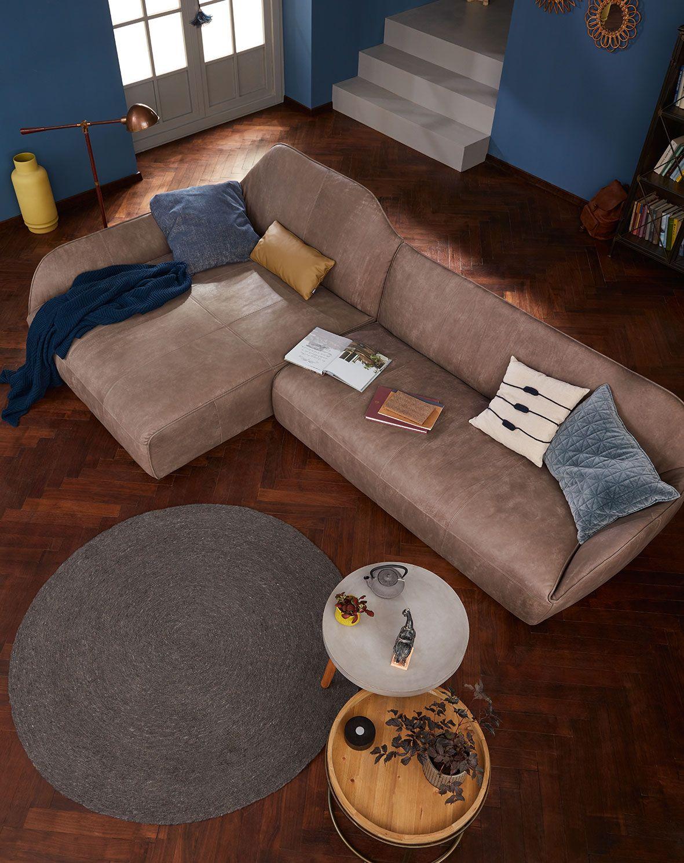 Hülsta Sofa Hs.480 Sofa Organische Form / Liegewiese / Vintage Leder Grau /  Yves