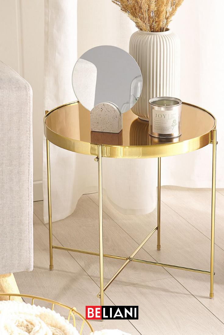 Beistelltisch Glas Gold Goldbraun Rund O40 Cm Lucea In 2020 Beistelltisch Glas Tisch Beistelltisch