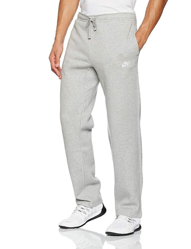 89590232a Mens Nike Sweats Club Fleece Sweatpants Pants Grey Heather Open Hem 804395  M #Nike #ActivewearPants