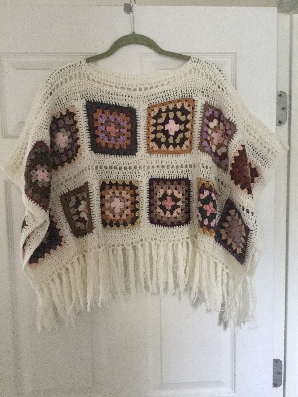 Hand Crochet Granny Square Fringe Poncho Earth Tones