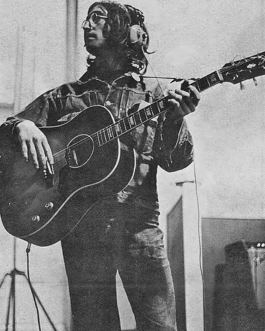 John Lennon Recording The White Album October 8th 1968 Thebeatles Johnlennon Gibson J160e The White Album The Beatles Story Beatles White Album