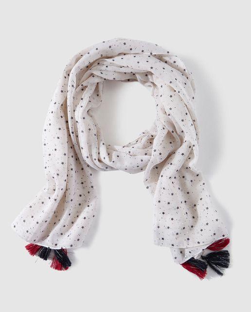 Fular de niña Brotes con estrellas y borlas crudo  869f26eb1f7