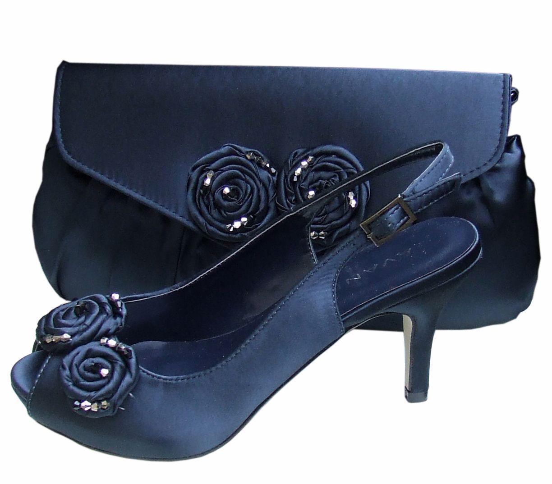 Menbur avance navy blue satin peep toe shoe shoes