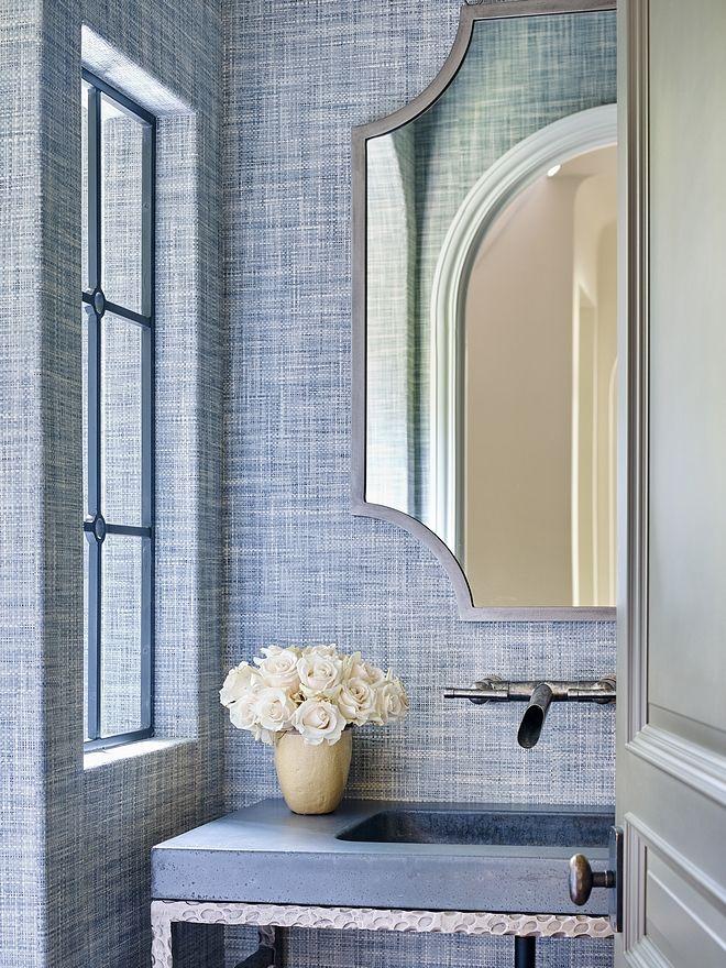 Photo of Powder room   Bathroom Wallpaper Philip Jefferies Driftwood Twilight Blue Bathro…