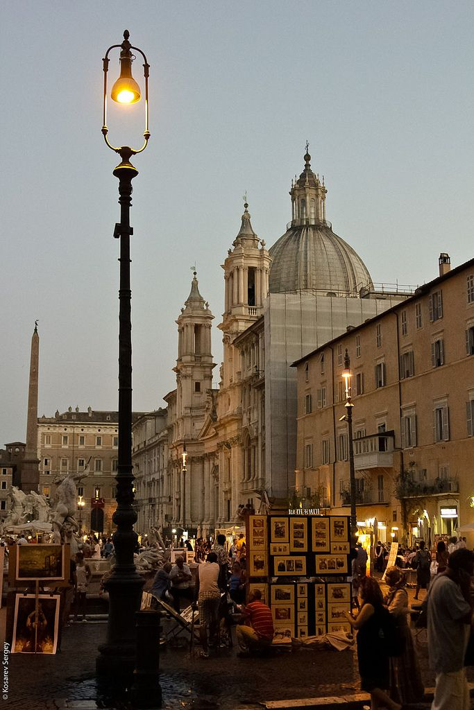 Piazza Navona, Roma 2012 Night, Italy | by Sergei Kosarev. Travel destination photography