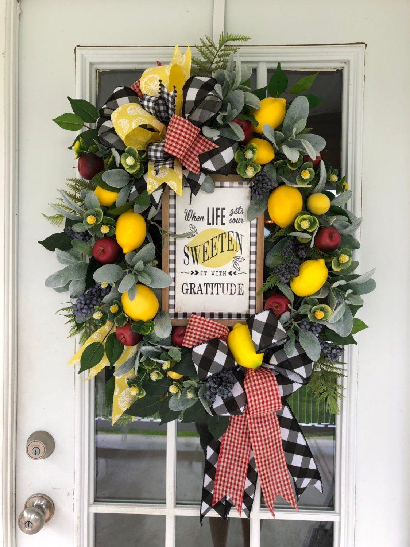 Photo of Farmhouse Lemon Wreath, Lemon Wreath for Kitchen, Front Door Lemon Wreath, Farmhouse Lemon Decor, Kitchen Fruit Wreath, Apple Wreath