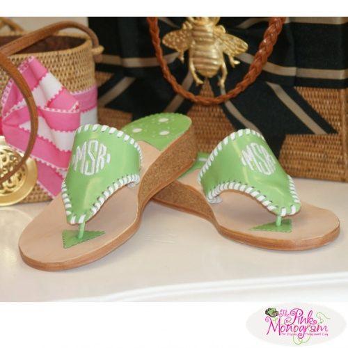 33187054cd31 Monogrammed Palm Beach Sandal in a 1 inch cork wedge