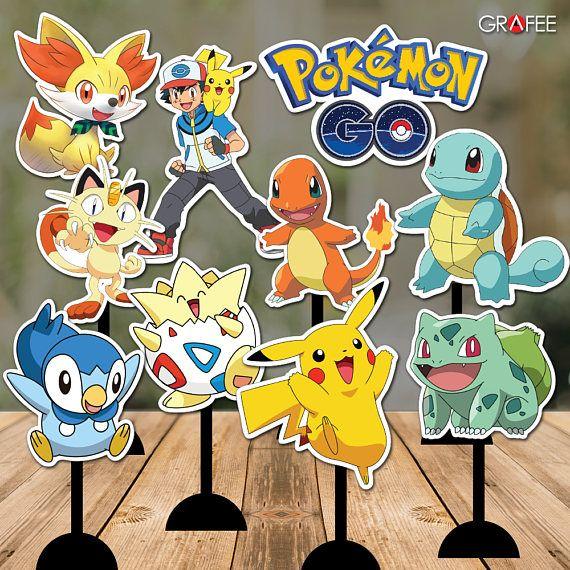 Pokemon Go Party Printables Pokemon Centerpieces With Mirror Images Pokemon Sweet Table P Pokemon Birthday Party Pokemon Party Decorations Pokemon Birthday
