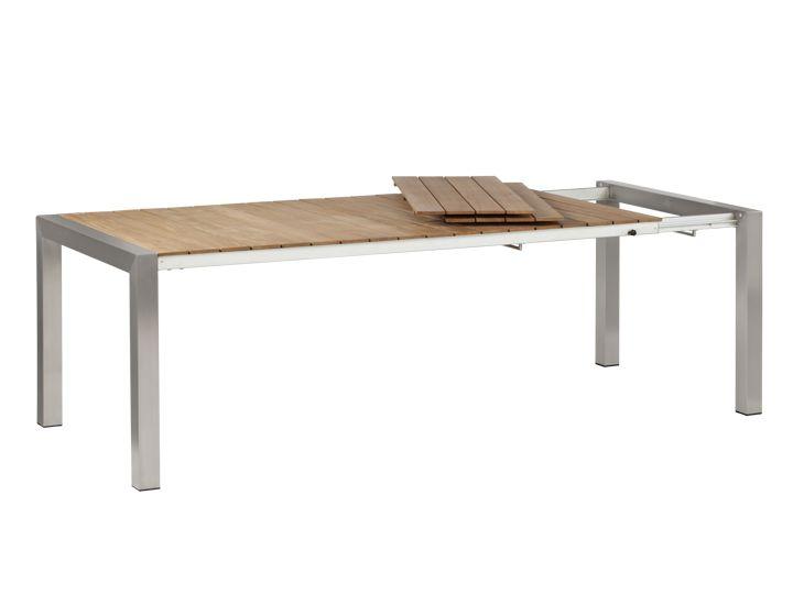 METZ Gartentisch ausziehbar 100x200/240/280 Edelstahl & Teak ...
