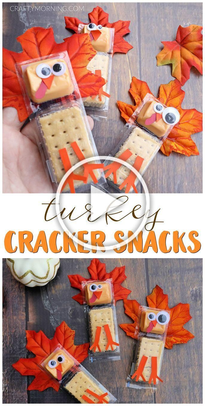 Turkey Cracker Snacks for Thanksgiving gift treats for kids Kids turkey school approved snacks to bring to a classroom Thanksgiving fun treats
