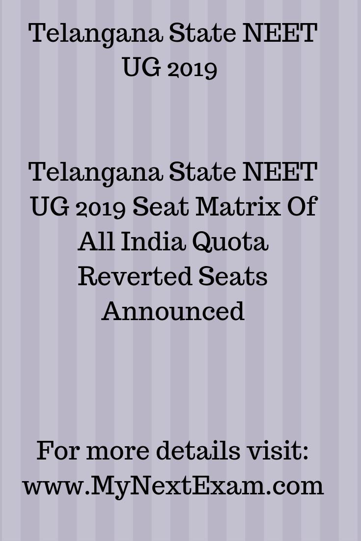 Telangana State Neet Ug 2019 Career Counseling Exam Medical College