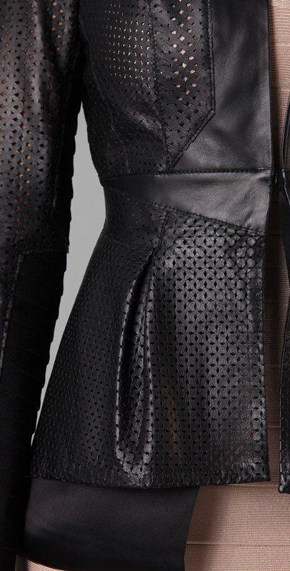 Herve Leger Leather & Bandage Perforated Jacket Detail