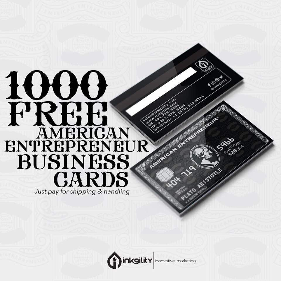 inkgility 1000 FREE American Entrepreneur Business Cards from ...