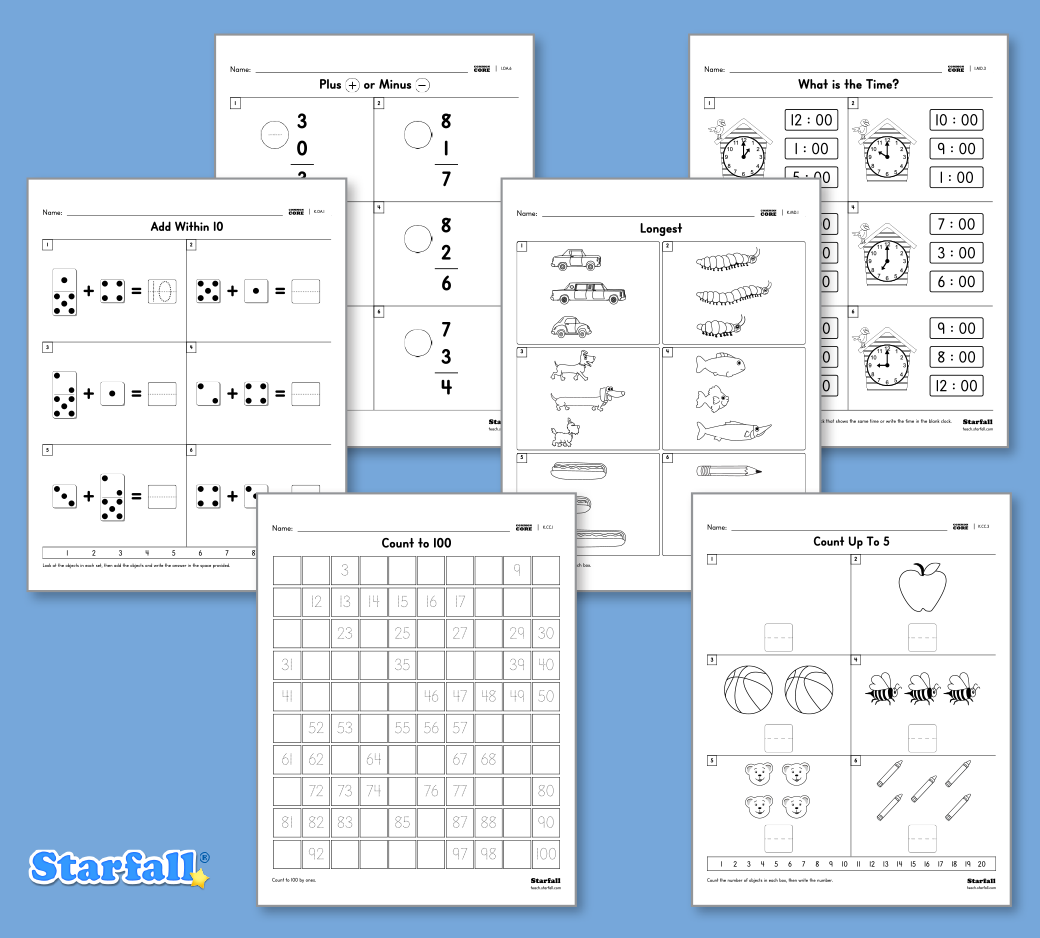 Starfall has lots of customizable, downloadable Math Worksheets in ...