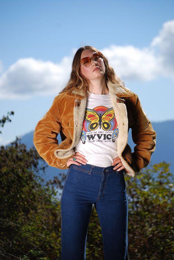 17c1916b4 1970s Corduroy Jacket, Sherpa Fur Lined Chestnut Brown Vintage 70s Jacket ,  Boho Hippie Fall Winter Coat, Grande Bay 42 / Women's Large