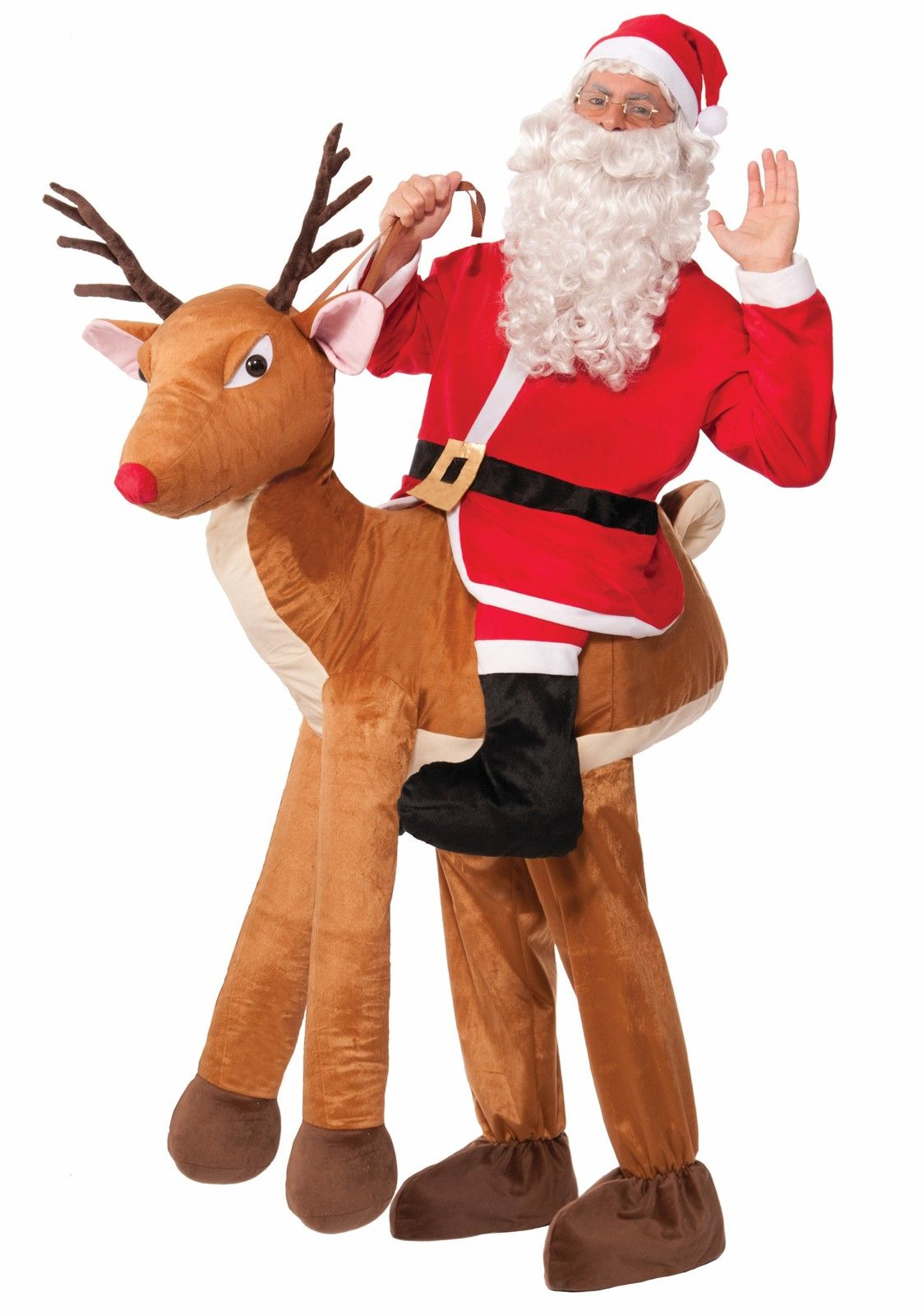 Christmas Carry Santa Claus Ride on Reindeer Mascot Costume Suit Adult Dress New