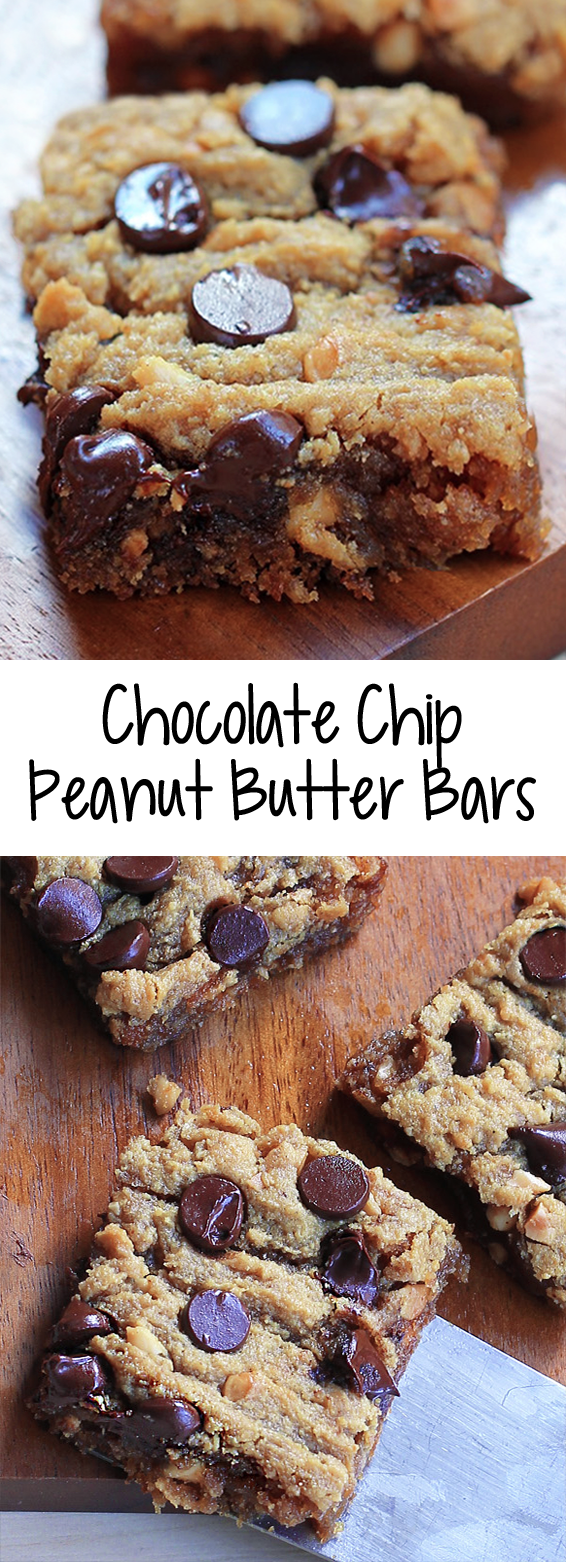 Chocolate Chip Peanut Butter Bars (Chocolate-Covered Katie) #peanutbuttersquares