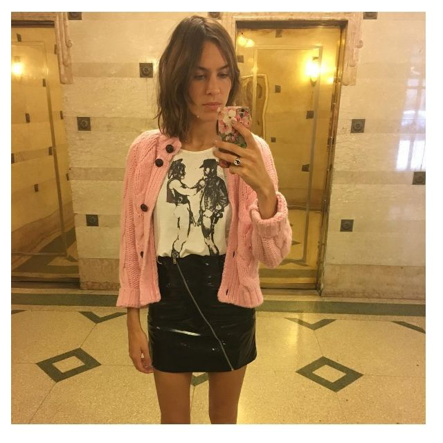 Time for Fashion » Seasonal Shopping: Pink Sweater. White graphic tee+black pantent leather skirt+pink cardigan. Fall Outfit 2016