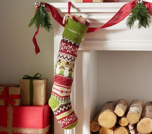 Snowman Fair Isle Stocking | Pottery Barn Kids - look closely, the ...
