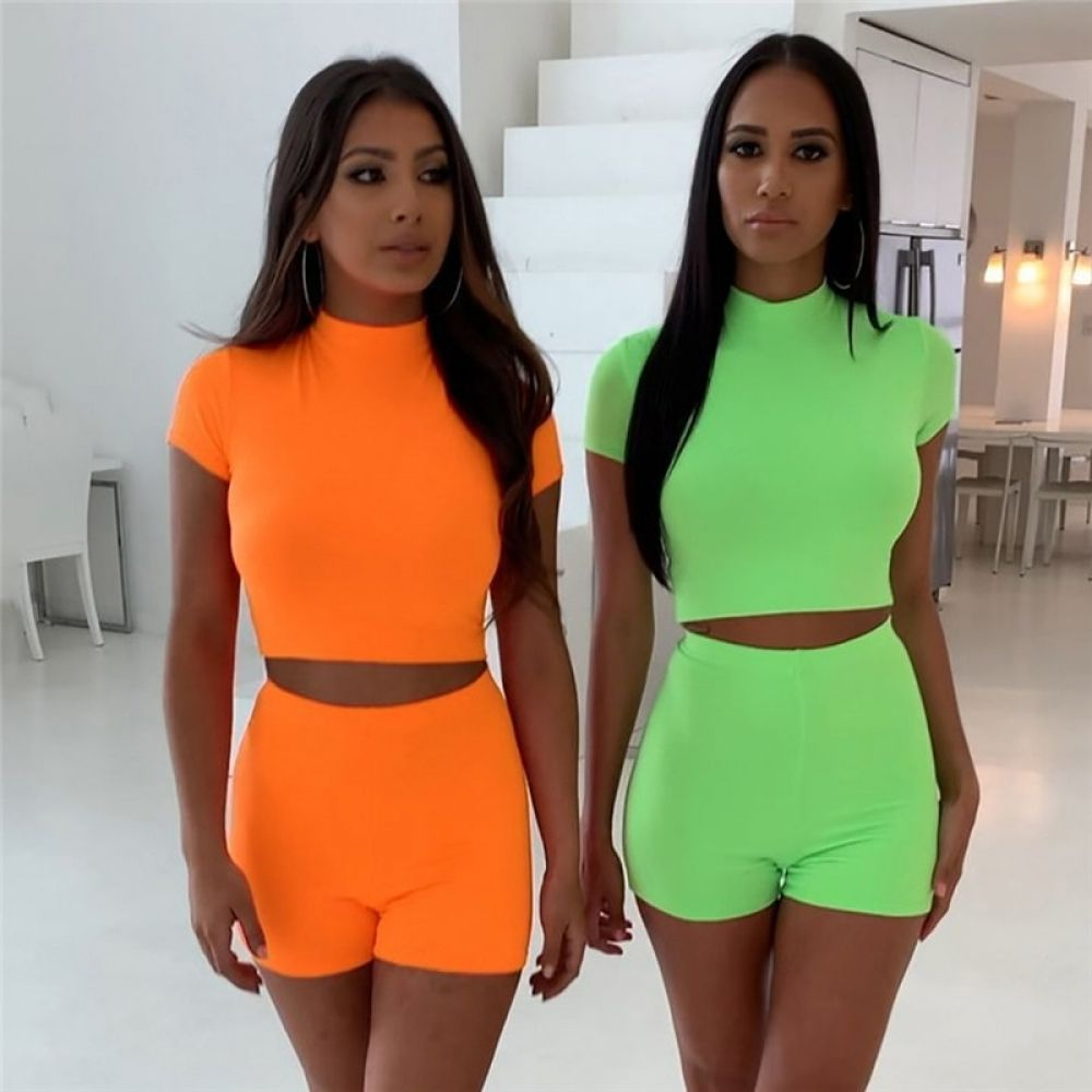 YYear Womens Shorts Party Tops and Crop 2 Pieces Scale Tracksuit Outfit Set