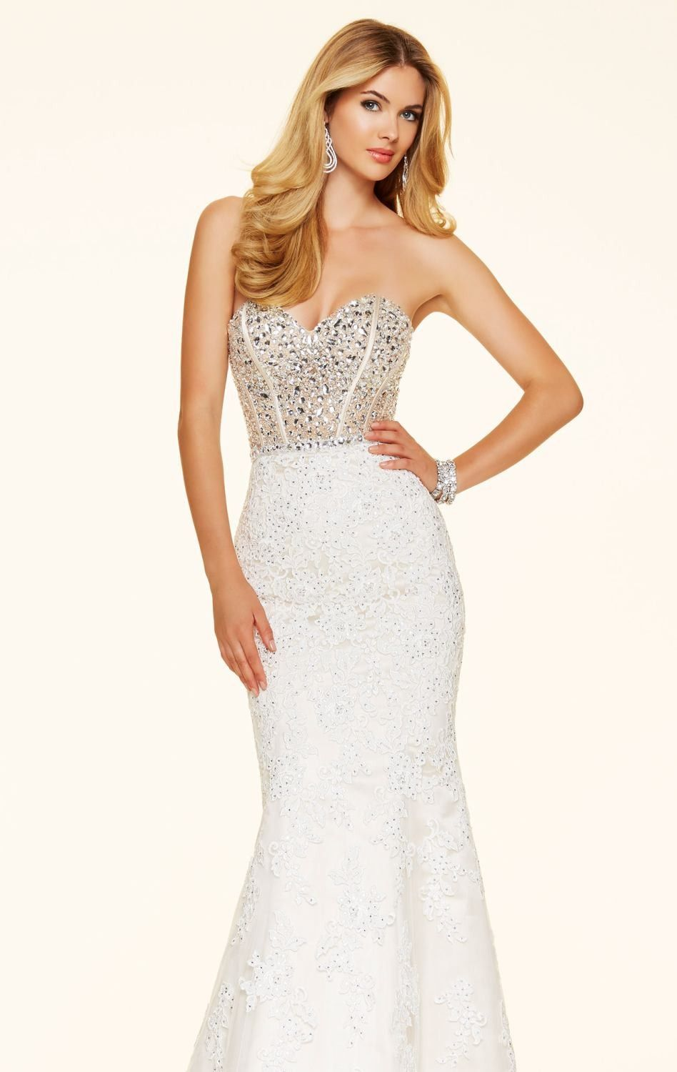 Jeweled lace net gown by paparazzi by mori lee wedding dresses