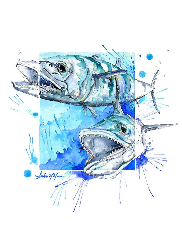 Kingfish 4rshores Mixed Media Fish Artwork Shark Art Fish Art