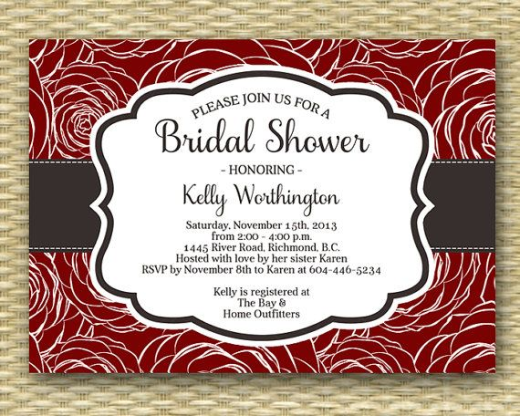 bridal shower invitation cranberry red roses rustic fall bridal shower autumn bridal brunch bridal tea bridal luncheon any event any color