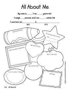 All About Me activity page with simple sentences. Cute