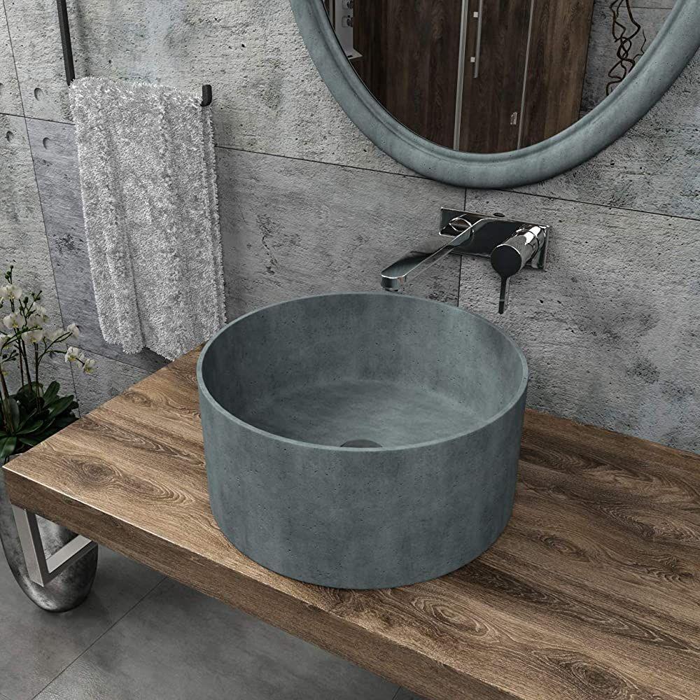 Kerabad Design Betonwaschbecken Waschtisch Aufsatzwaschbecken Waschschale Aus Beton Grau Rund 42x42x195cm In 2020 Aufsatzwaschbecken Betonwaschbecken Dusche Renovieren