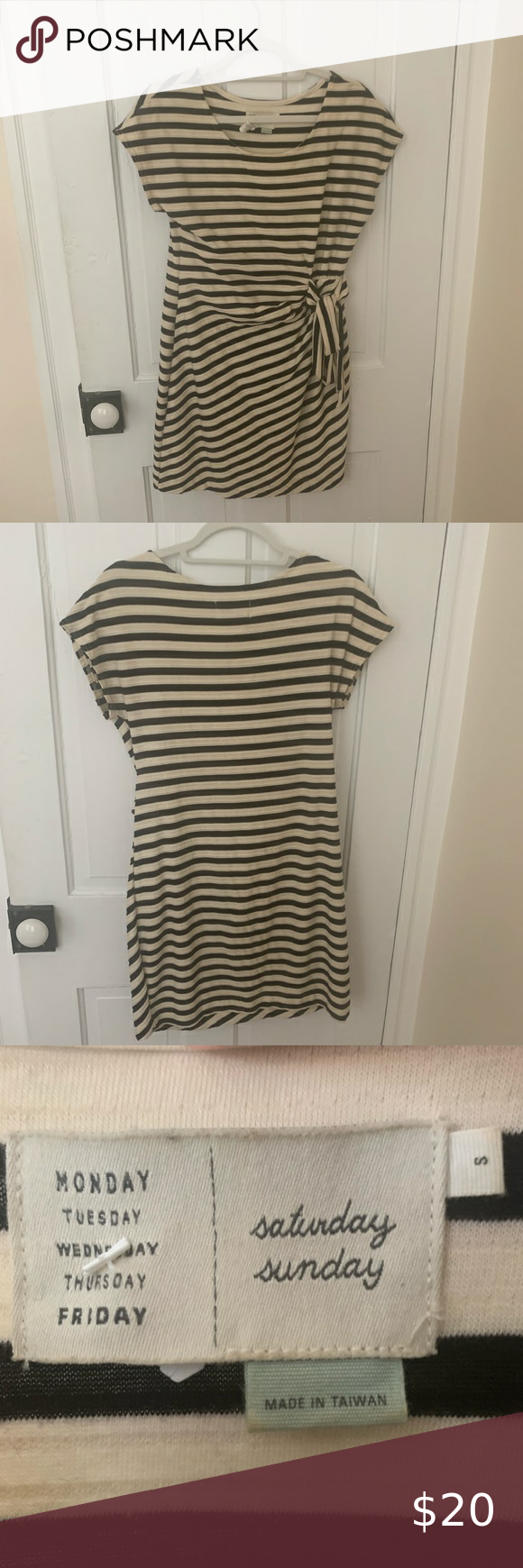 Anthropologie Striped Tie Dress