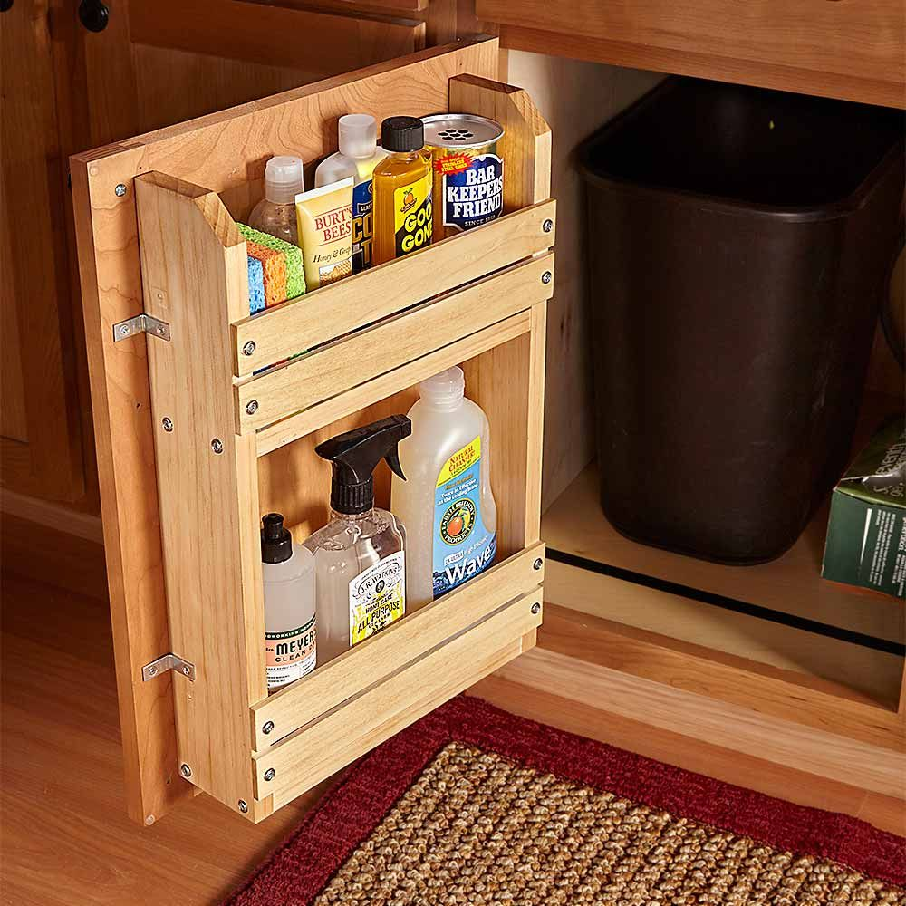 18 inspiring inside cabinet door storage ideas inside cabinets heres a simple project to bring order to the chaos a door mounted storage rack you can modify this basic idea to organize other cabinets too planetlyrics Images