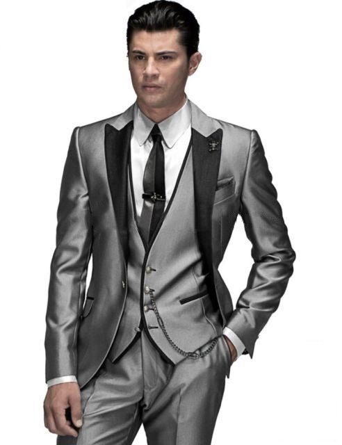 New Arrival Silver Gray Groom Tuxedos Groomsmen Mens Wedding Suits ...