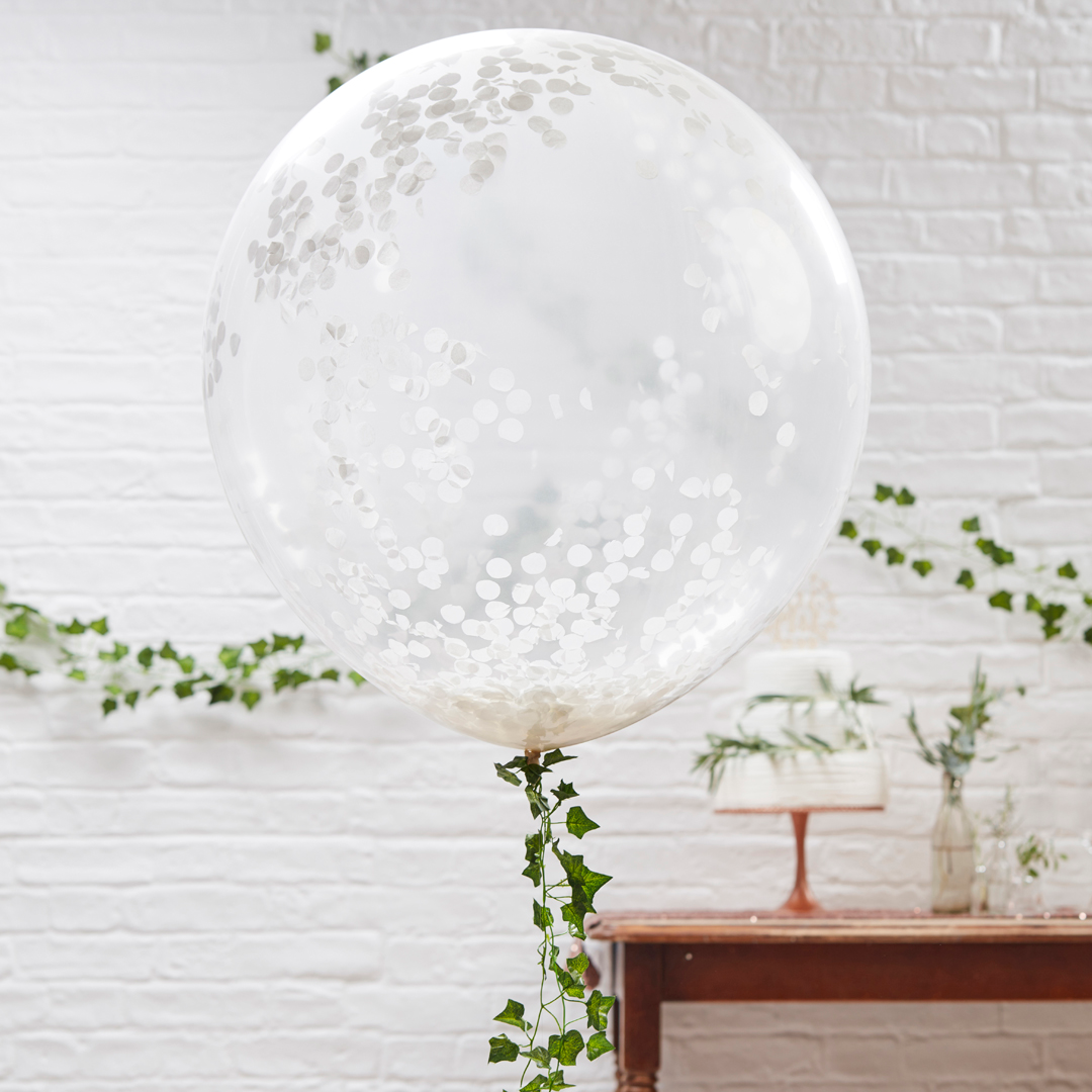 These white confetti balloons would be perfect for a wedding! Don\'t ...