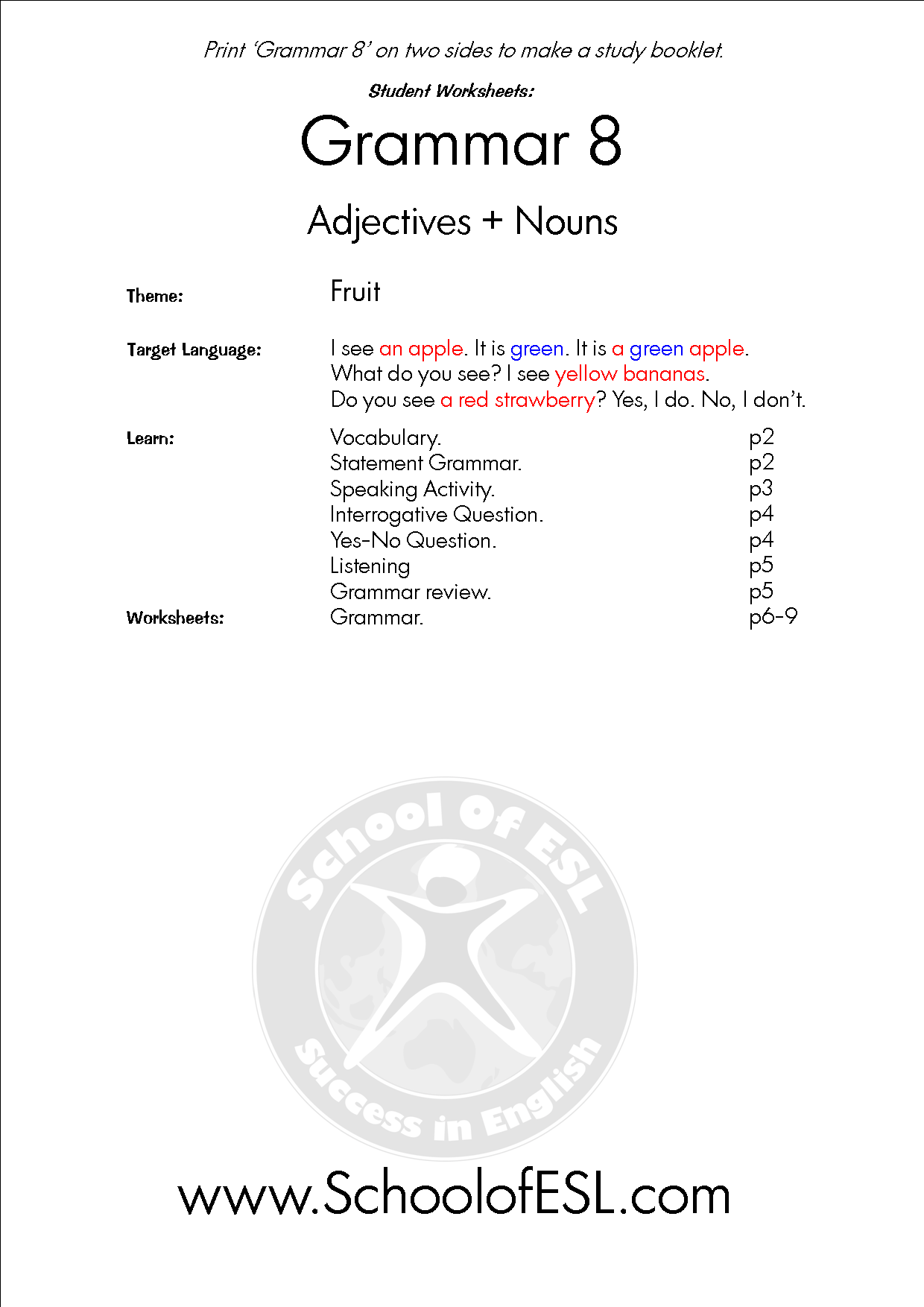 Grammar 8 Adjectives Nouns Resources For Intensive