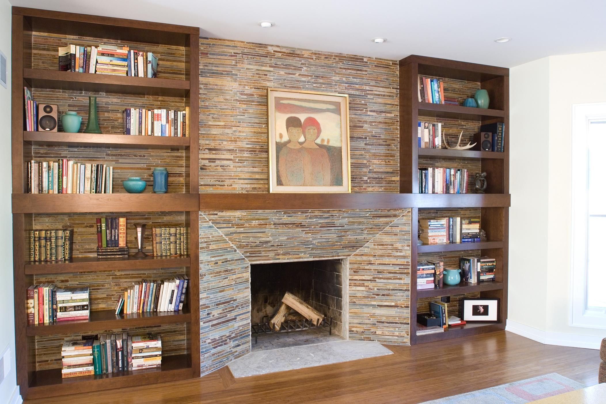 Fireplace Bookshelves Design Made Of Wood In Rectangular Shape Combined  Brown Brick Mantel And Wooden Shelf