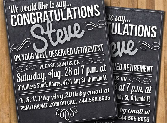 Chalkboard Party Invitation Retirement Diy 5x7 Or 4x6
