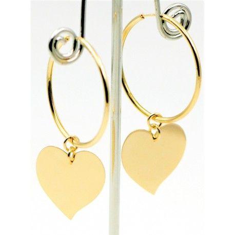 88dcf55719f3 Pendientes de Aro Plata de Ley con baño de Oro y colgante de corazón. Ver