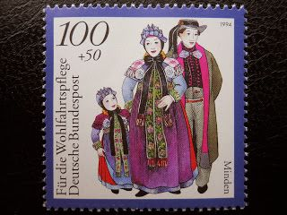 Stamps, covers and postcards of traditional/folk costumes: Stamps / Costumes - Germany / Vokietija