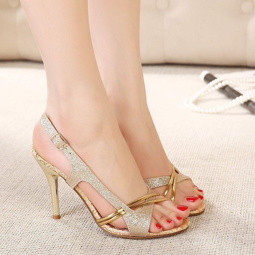 Fashion Gold Snake Pattern Pvc Casual Shoes Summer Peep Toe Thin Heels Women Sandals Buckle Strap High Heels Black Women Shoes Moderate Cost High Heels