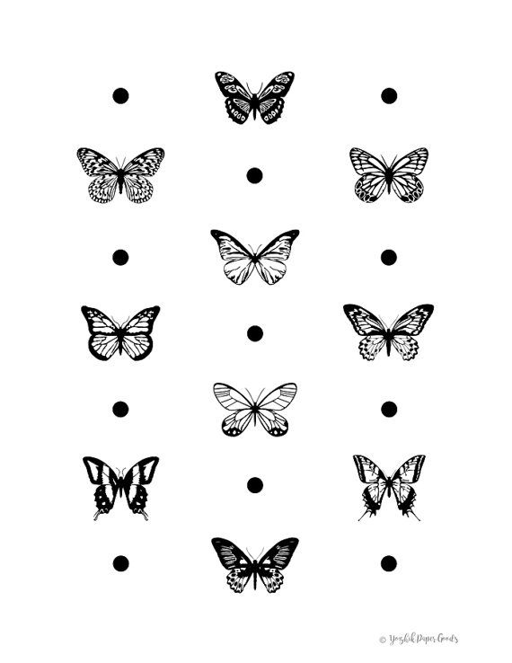 f6f968ddc Butterfly print black and white graphic art by YozhikPaperGoods ...