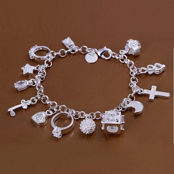 925 Silver Fashion Jewelry Heart Key Rings 13 Charms Women Bracelet H144