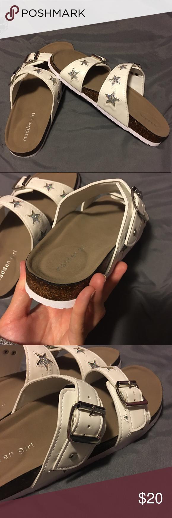 4e2e6e082bd Madden Girl White   Glitter Stars Footbed Sandals Brand new never worn!  Fits true to size Madden Girl Shoes Sandals