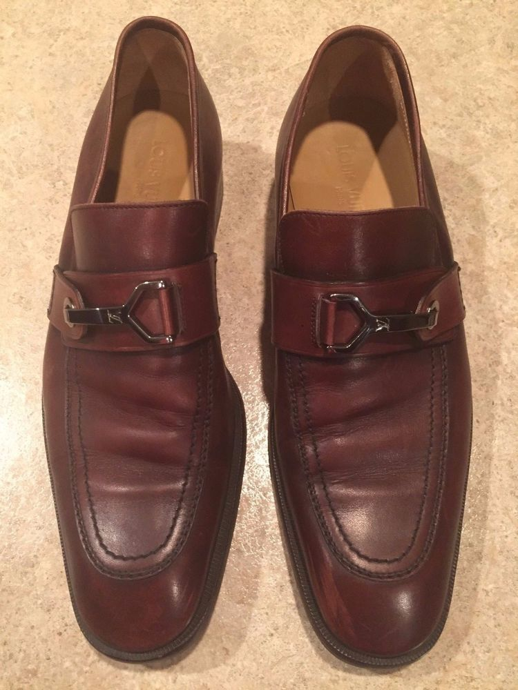 Louis vuitton brown leather loafer formal italy mens size