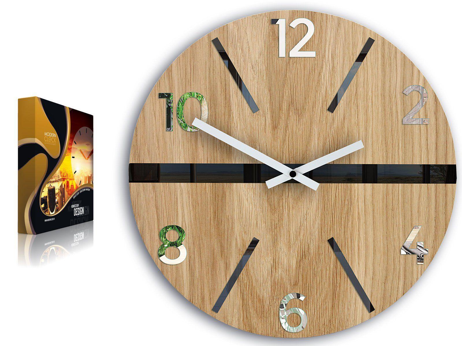 Wall Clock In Scandinavian Style White Black And Mirror Etsy Zegar Scienny Zegar Lustro